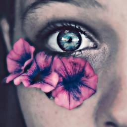 purpleeyeremix freetoedit remix flower person