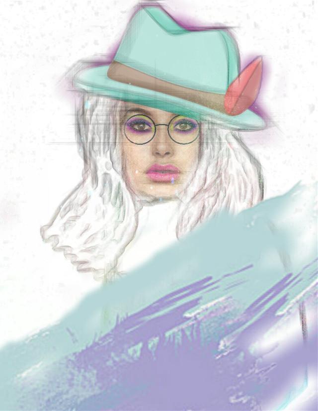 #haileybaldwin #pencileffect #paint #hatstickerremix #dailysticker #holographicmakeup #glasses