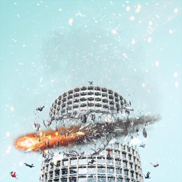 #freetoedit #remixit #dailyremix #meteorite #fireball #building #destruction #debris #people #falling #glass #smoke #ftstickers #clonetool #picsart #pa #remixed #remixme #windowsremix