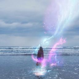 star starry girl water stars freetoedit