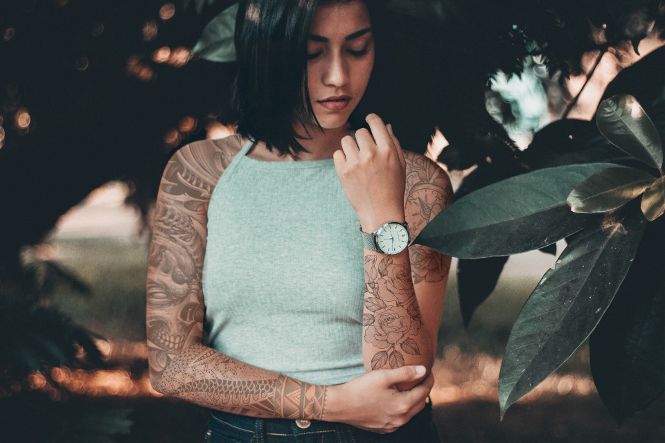 🖤🍃 #nature #tatto #girl #leaf #green