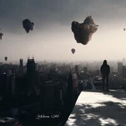 surreal city floatingisland gravity surrealism freetoedit