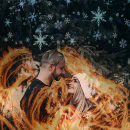 freetoedit splasher winterlove snow couple