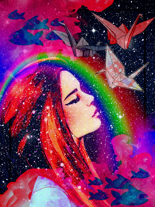 #Rainbow #origami #red #space #girl #fish