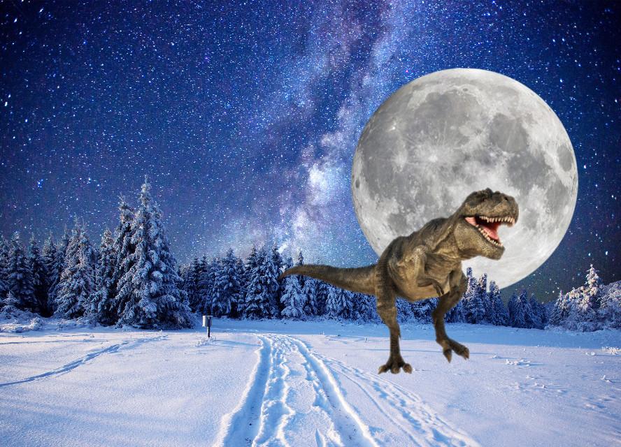 #freetoedit #dinosaur #snow #galaxy #moon
