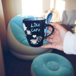 coffee cup mug hand blue freetoedit