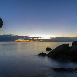 sea rocks sunset longexposure