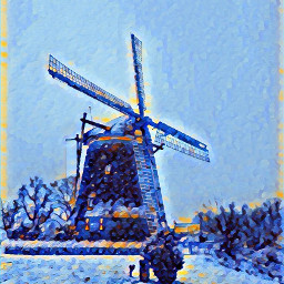 winter holland landscape mill dutch scenery
