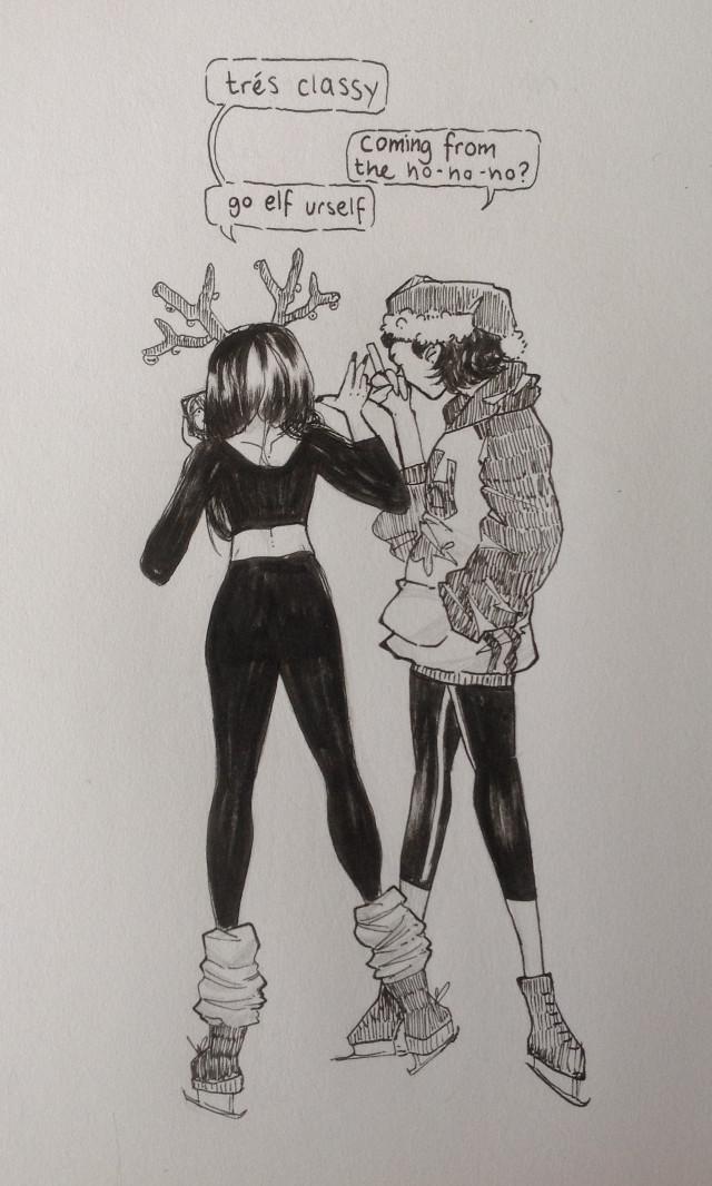 Dumb Hyacinth and Mona christmas doodle for @salmon_chan  #myart #cute #chrismas #art #sketch