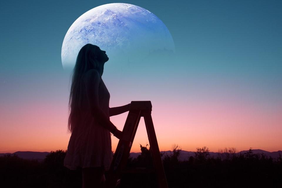 #freetoedit #planet #women #sunset