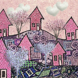 freetoedit drawingbyme backgroundforyou pinkhouses clouds