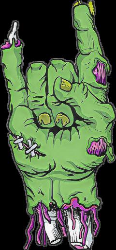 hand devil horns zombie sticker freetoedit