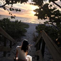 freetoedit sunrise womansitting picsart remixit