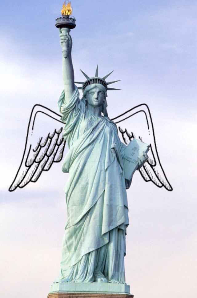 #freetoedit #fire #popsugarchallenge #america #ladyliberty #blue #wings #edit