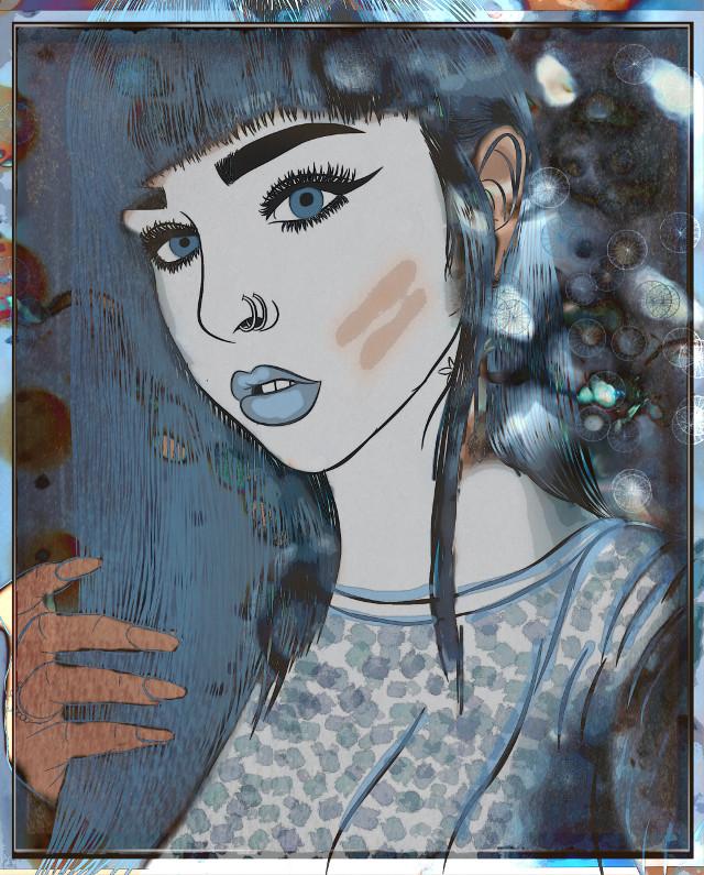 #freetoedit #art #drawing #edit #edited #womanportrait #woman #bluehair #blueeyes #bluewoman #