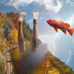 freetoedit foldinglandscape edgeoftheworld feet water