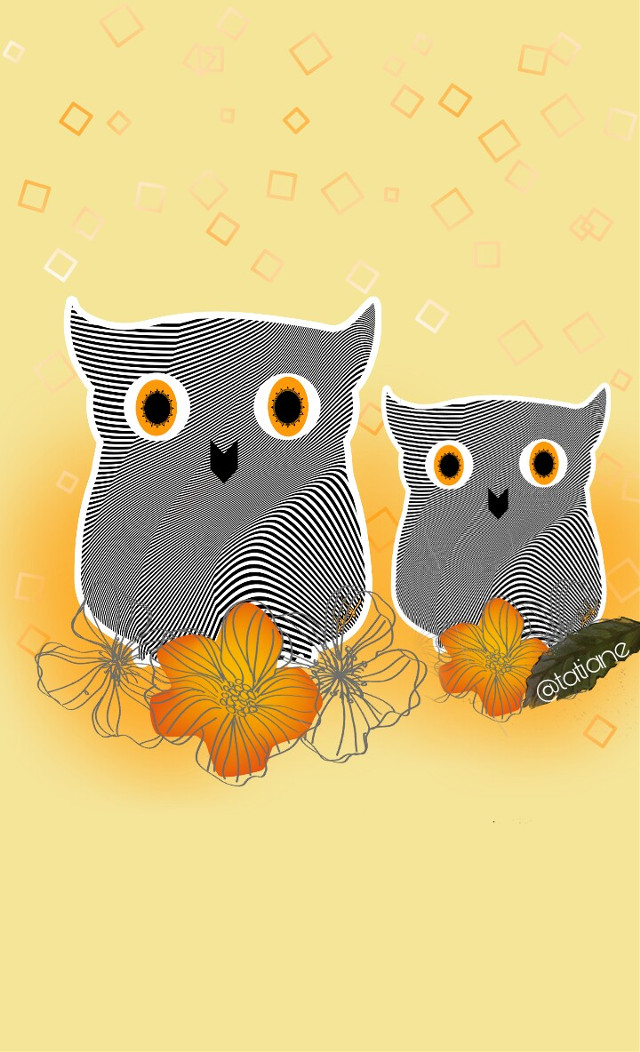#wallpaper#cellphone#cute#wol#line#flowers#yellow#owl
