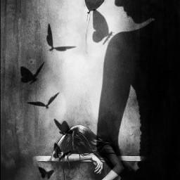 newbeginnings butterflies balloon blackandwhitephotography shadow freetoedit