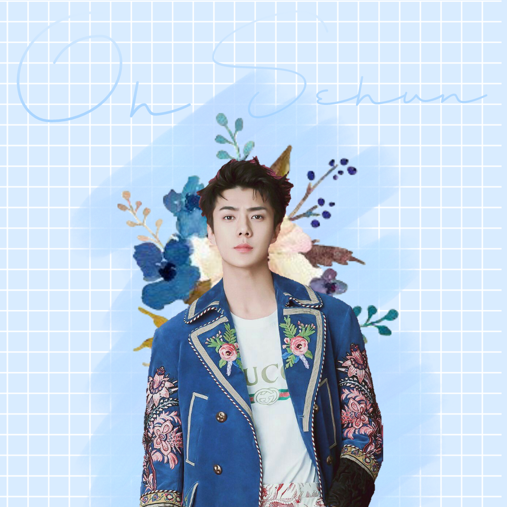 Exo Oh Sehun Flower Wallpaper Blue Pastel Brush