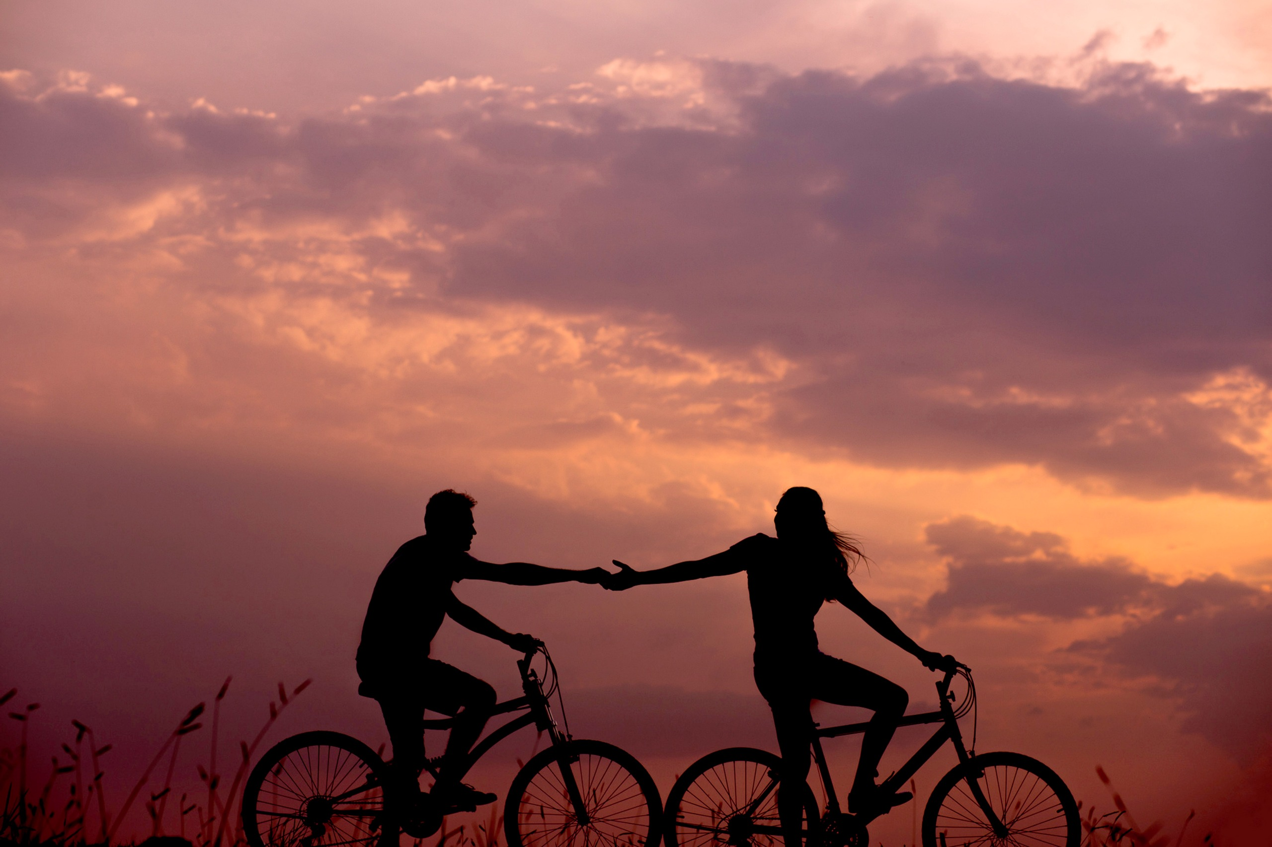 Love is not what you say! Love is what you do!Unsplash (Public Domain)#FreeToEdit #couple #love #bicycle #boy #girl #hands #sunset #nature #pink #transpo