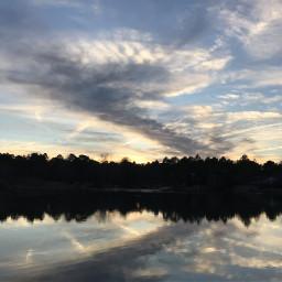 lake sunset clouds photography