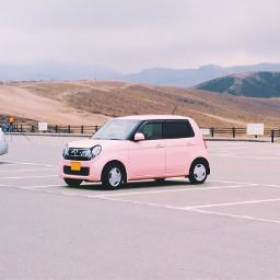 pink car mountains hills freetoedit