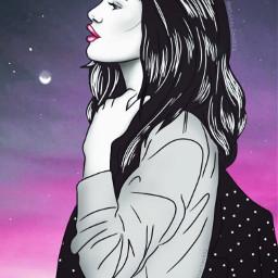 Girl Moon Night Purple Pink Drawing