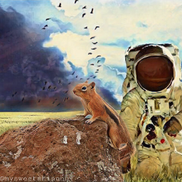 freetoedit whimsy outerspace astronaut squirrel