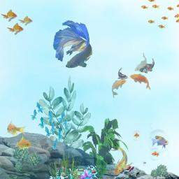 freetoedit underwater fishes stickerart