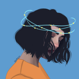 draw drawing girl headband blue freetoedit