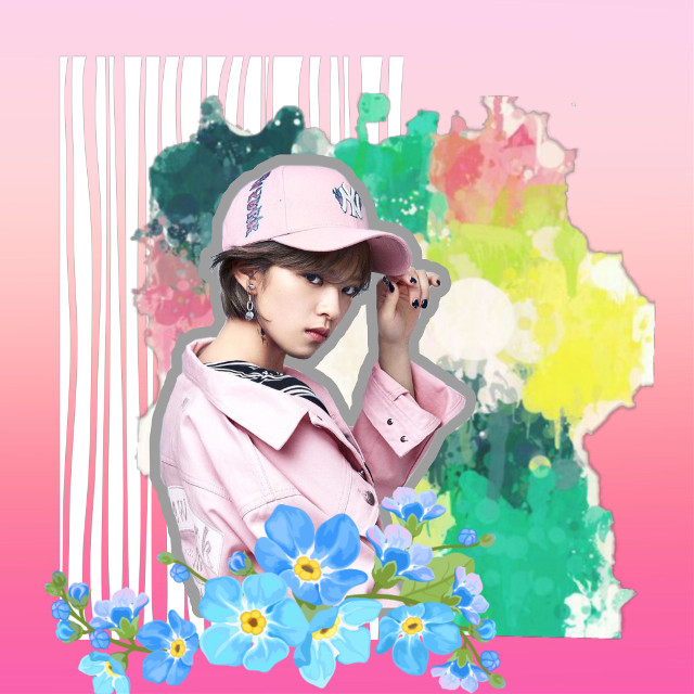 #freetoedit Jeongyeon lookin as cool as ever 😆😋❤️ #jeongyeon #twice #once #stickers #pink #flowers #splatter #remixed from @fabiola63, @danial8986, @zuhos, @bibekumarshah