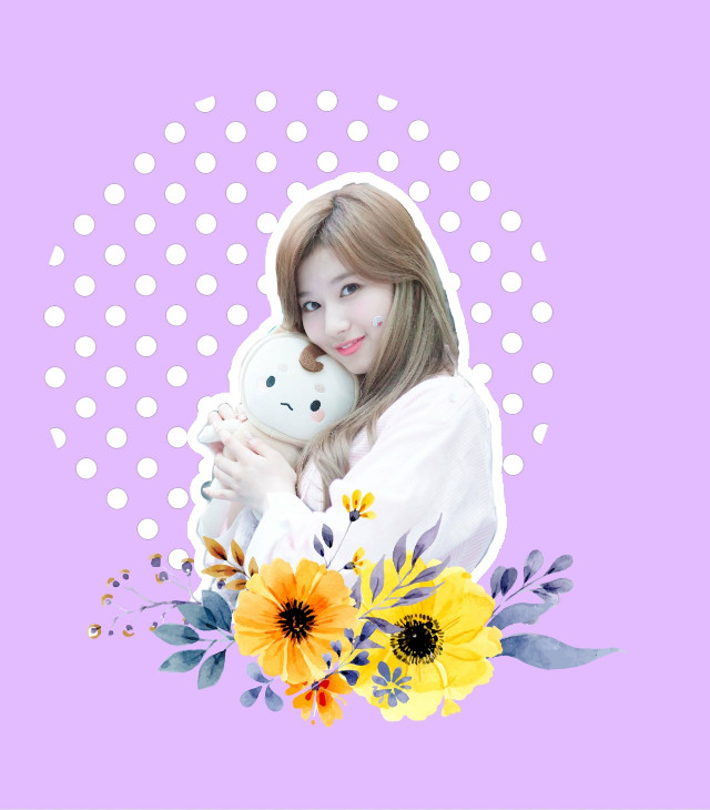 😋 ive been obsessed with twice and korean stuff lately 😋😂❤️ #sana #twice #once #purple #flowers #kpop #dots #polkadots