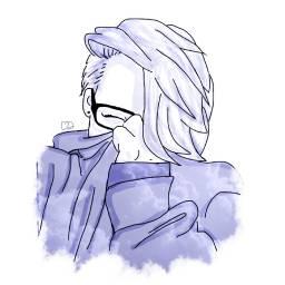 Girl Portrait Purple Glasses Draw Drawing