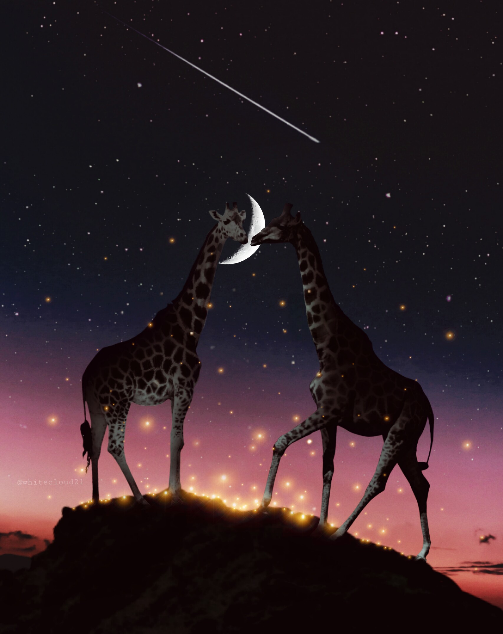 ??✨ #freetoedit #vipbrushtool #giraffe #madewithpicsart #madebyme #night #lights #firefly #animals #love #valentinesday #myedit @picsart