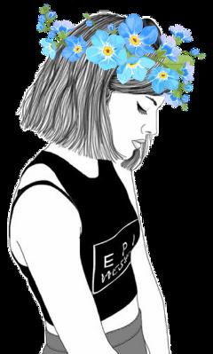 tumbler tumbleroutline girl flowerheadband blueflower freetoedit