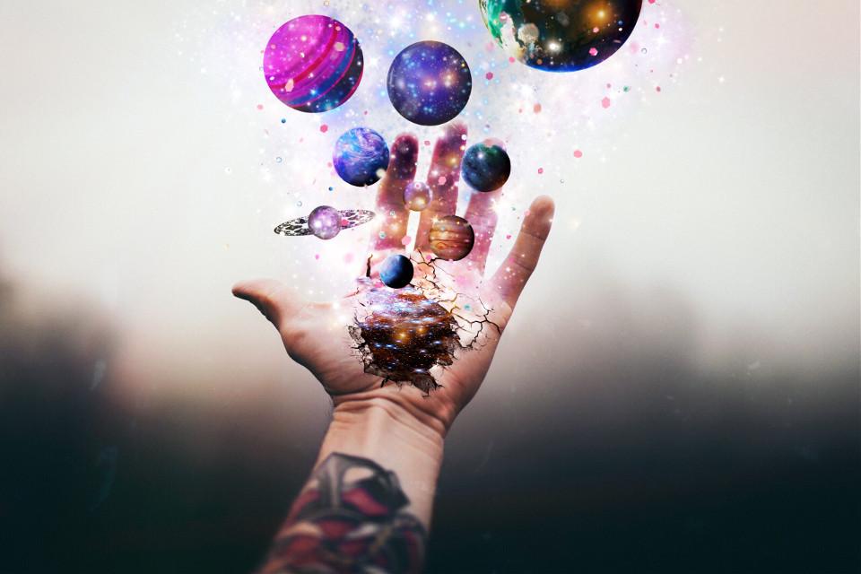 """Galaxies in my grasp.""  #freetoedit #interesting #art #photography #galaxy #constellations #planet #planets #stars #stardust #vipbrushtool #photomanipulation #remix #hand"