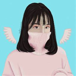 freetoedit girl pink wings blue