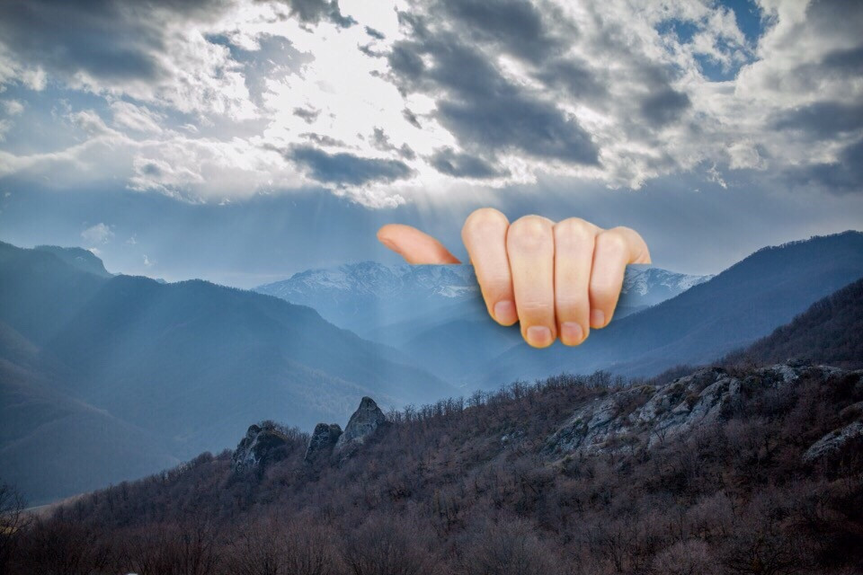 Even on cloudy days, the light from above shines through. We would like to thank artist @illustratesart for remixing the pic by @areguk, and therefore being today's inspiration! Get creative by remixing this image or upload one of your own! #Mountain #Hills #Hand #Clouds #Sky #FreeToEdit