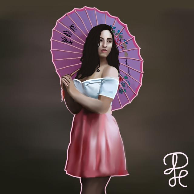 #freetoedit #girl #asia #art #digitalart #remixit #mypainting #skirt #umbrella