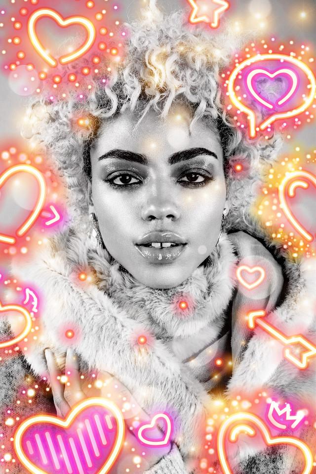#freetoedit #girl #neon #neonhearts #neonlove #blackandwhite