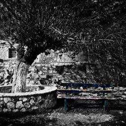 colorsplash blue bench greece blackandwhite