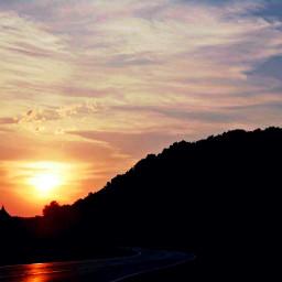 sunset sundown summer orange hill
