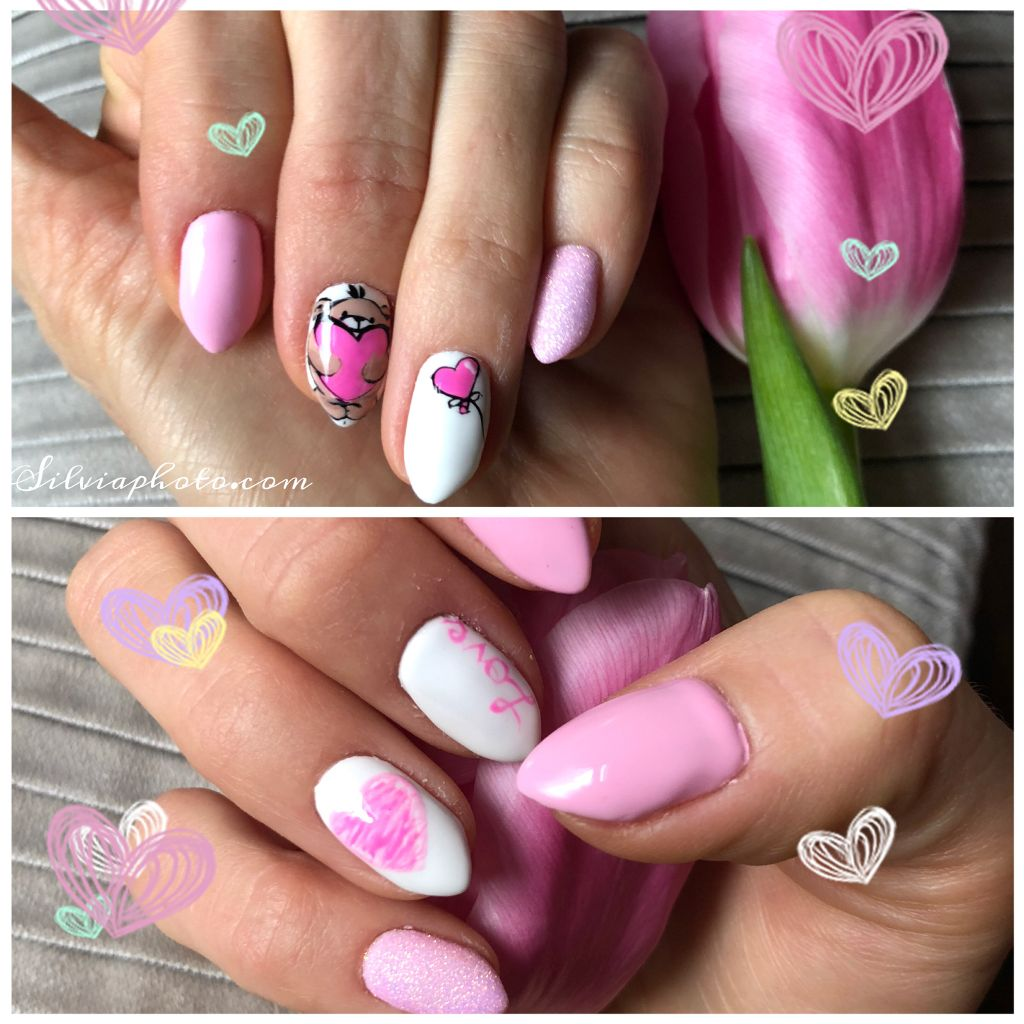 #valentiesday #nails #art #redy #polishgirl #cute #heart #pinknails #pinklove #tulips #pinkflower #teddybear #love