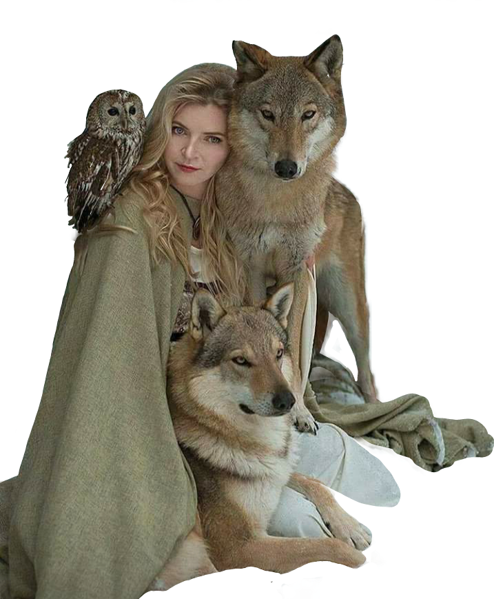 girl pretty wolf wolfs owl snow color