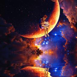digitalart art surreal moon cosmic