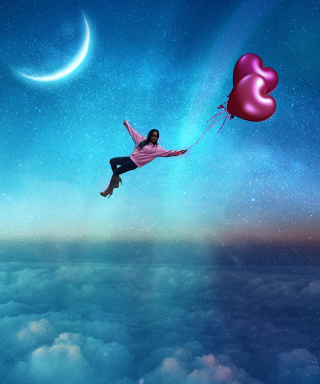 Chica en el cielo. #sky #stars #moon #ballons #girl #clouds