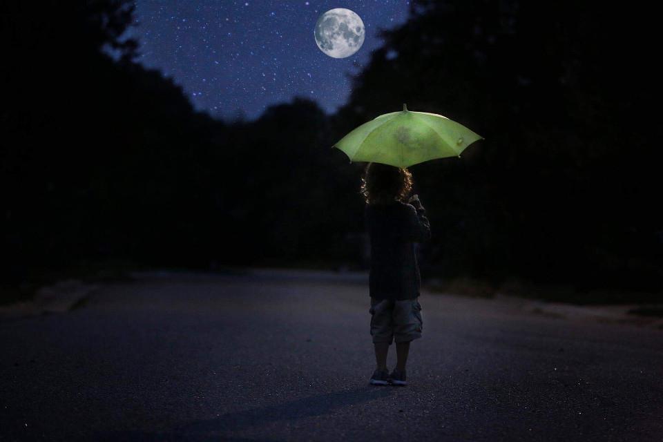 #freetoedit #night #nighttime #dark #moon #moonlight #magical #stars #umbrella #rain @nicolalane