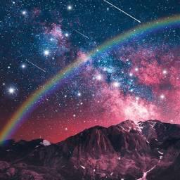 arcoiris estrellas estrellafugaz espacioexterior