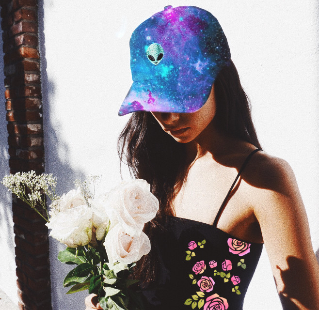 #freetoedit A galaxy printed cap and cute roses on the blouse. I hope u like it.