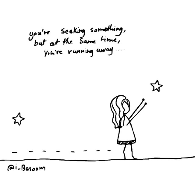 You're seeking something but at the same time you're running away! #quotes&sayings #stars #star #sticker #goals #dream #freetoedit
